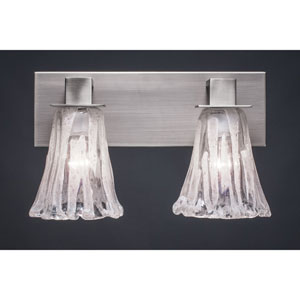 Apollo Graphite Two Light Bath Fixture with 5.5-Inch Fluted Italian Ice Glass