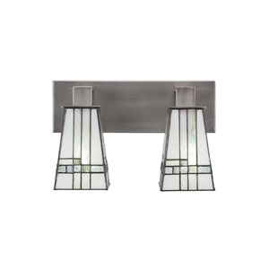 Apollo Graphite Two-Light Bath Bar with 5-Inch New Deco Tiffany Glass