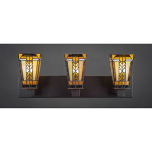 Apollo Dark Granite Three-Light Vanity Fixture With Santa Cruz Tiffany Glass