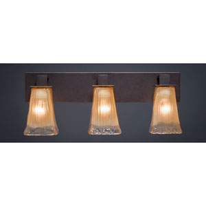 Apollo Dark Granite 5-Inch Three Light Bathroom Wall Lighting with Square Amber Crystal Glass