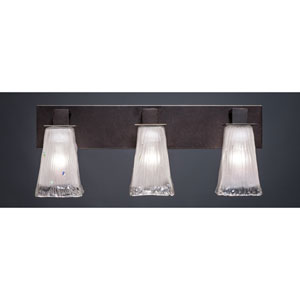 Apollo Dark Granite 5-Inch Three Light Bathroom Wall Lighting with Square Frosted Crystal Glass