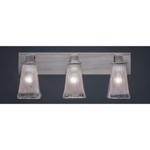 Apollo Graphite Three Light Bath Fixture with 5-Inch Square Frosted Crystal Glass