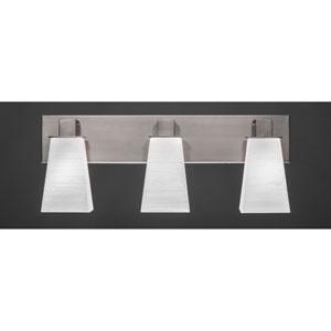Apollo Graphite Three Light Bath Fixture with 5-Inch Square White Linen Glass