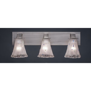 Apollo Graphite Three Light Bath Fixture with 5.5-Inch Fluted Frosted Crystal Glass