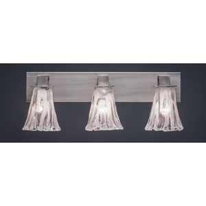 Apollo Graphite Three Light Bath Fixture with 5.5-Inch Fluted Italian Ice Glass