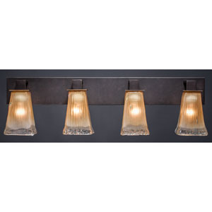 Apollo Dark Granite 5-Inch Four Light Bathroom Wall Lighting with Square Amber Crystal Glass