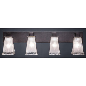 Apollo Dark Granite 5-Inch Four Light Bathroom Wall Lighting with Square Frosted Crystal Glass