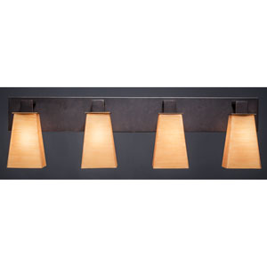 Apollo Dark Granite 5-Inch Four Light Bathroom Wall Lighting with Square Cayenne Linen Glass