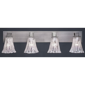 Apollo Graphite Four Light Bath Fixture with 5.5-Inch Fluted Italian Ice Glass