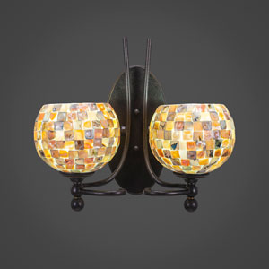 Capri Two-Light Wall Sconce - Dark Granite Finish with 6 Inch Sea Shell Glass