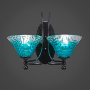 Capri Two-Light Wall Sconce - Dark Granite Finish with 7 Inch Teal Crystal Glass