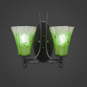 Capri Two-Light Wall Sconce - Dark Granite Finish with 5.5 Inch Kiwi Green Crystal Glass