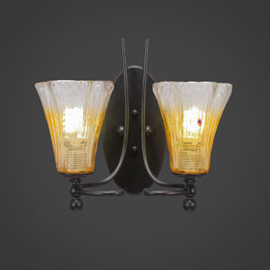 Capri Two-Light Wall Sconce - Dark Granite Finish with 5.5 Inch Gold Champagne Crystal Glass