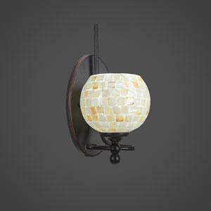Capri Dark Granite One Light Wall Sconce with 6-Inch Sea Shell Glass