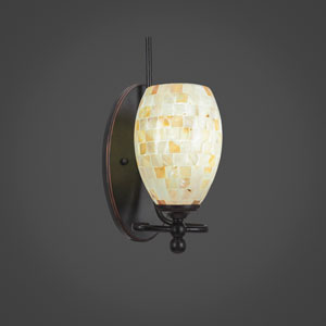 Capri Dark Granite One Light Wall Sconce with 5-Inch Sea Shell Glass