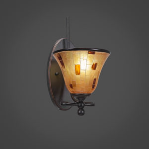 Capri Dark Granite One Light Wall Sconce with 7-Inch Penshell Resin Shade