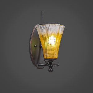 Capri Dark Granite One Light Wall Sconce with 5.5-Inch Gold Champagne Crystal Glass
