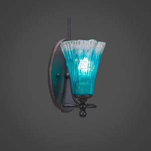 Capri Dark Granite One Light Wall Sconce with 5.5-Inch Teal Crystal Glass