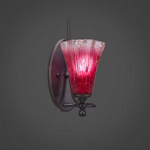 Capri Dark Granite One Light Wall Sconce with 5.5-Inch Raspberry Crystal Glass