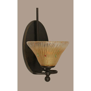 Capri Dark Granite One-Light Wall Sconce w/ 7-Inch Amber Crystal Glass