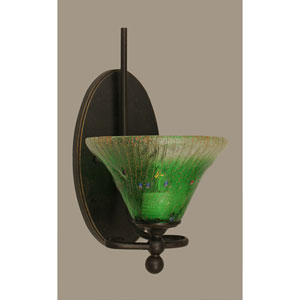 Capri Dark Granite One Light Wall Sconce with 7-Inch Kiwi Green Crystal Glass