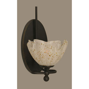 Capri Dark Granite One Light Wall Sconce with 7-Inch Gold Ice Glass