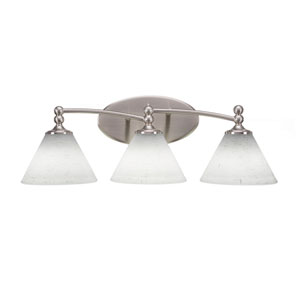 Capri Brushed Nickel Three-Light Bath Bar with 7-Inch White Muslin Glass
