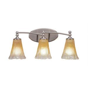 Capri Brushed Nickel Three-Light Bath Bar with 5.5-Inch Amber Crystal Glass