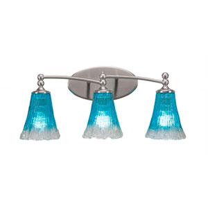 Capri Brushed Nickel Three-Light Bath Bar with 5.5-Inch Teal Crystal Glass