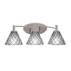 Capri Brushed Nickel Three-Light Bath Bar with 7-Inch Diamond Ice Tiffany Glass
