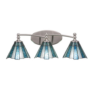 Capri Brushed Nickel Three-Light Bath Bar with 7-Inch Sea Ice Tiffany Glass