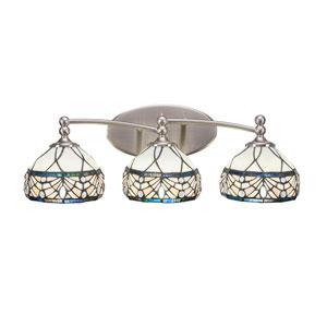 Capri Brushed Nickel Three-Light Bath Bar with 7-Inch Royal Merlot Tiffany Glass
