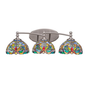 Capri Brushed Nickel Three-Light Bath Bar with 7-Inch Kaleidoscope Tiffany Glass