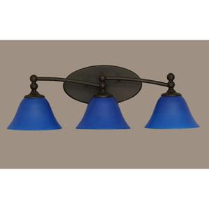 Capri Dark Granite Three Light Bath Fixture with 7-Inch Blue Italian Glass