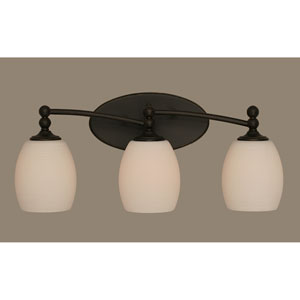 Capri Dark Granite Three-Light Wall Sconce w/ 5-Inch White Linen Glass