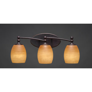 Capri Dark Granite Three-Light Wall Sconce w/ 5-Inch Cayenne Linen Glass