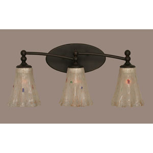 Capri Dark Granite Three-Light Wall Sconce w/ 5.5-Inch Frosted Crystal Glass