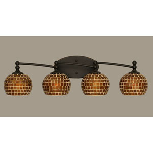 Capri Dark Granite Four Light Bath Fixture with 6-Inch Mosaic Glass