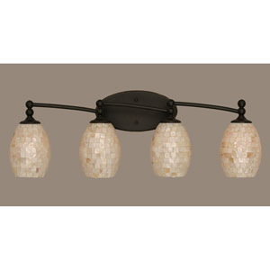Capri Dark Granite Four Light Bath Fixture with 5-Inch Sea Shell Glass