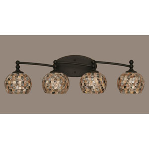 Capri Dark Granite Four Light Bath Fixture with 6-Inch Sea Shell Glass