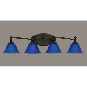 Capri Dark Granite Four Light Bath Fixture with 7-Inch Blue Italian Glass