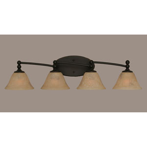 Capri Dark Granite Four Light Bath Fixture with 7-Inch Italian Marble Glass