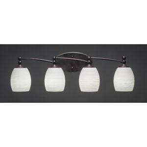 Capri Dark Granite Four-Light Bath Bar w/ 5-Inch White Linen Glass