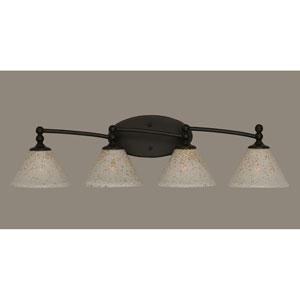 Capri Dark Granite Four Light Bath Fixture with 7-Inch Gold Ice Glass