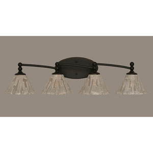 Capri Dark Granite Four Light Bath Fixture with 7-Inch Italian Ice Glass