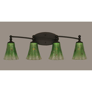 Capri Dark Granite Four Light Bath Fixture with 5.5-Inch Kiwi Green Crystal Glass
