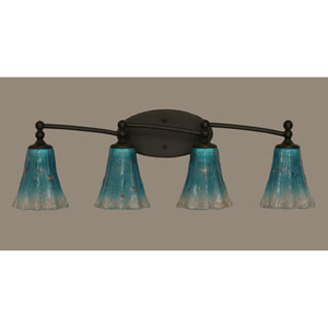 Capri Dark Granite Four Light Bath Fixture with 5.5-Inch Teal Crystal Glass