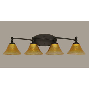 Capri Dark Granite Four Light Bath Fixture with 7-Inch Gold Champagne Crystal Glass