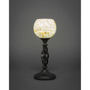 Elegante Dark Granite One-Light Mini Table Lamp with Mystic Seashell Glass