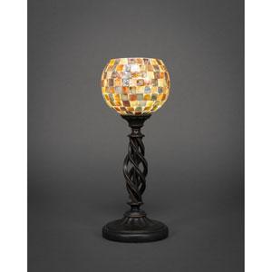 Elegante Dark Granite One-Light Mini Table Lamp with Sea Mist Seashell Glass